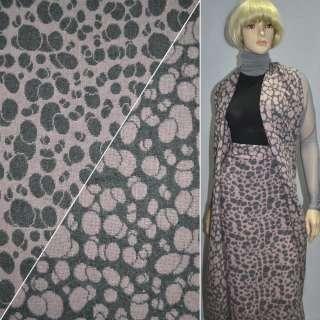 ткань костюм. св/серая с розовыми кругами ш.150 оптом