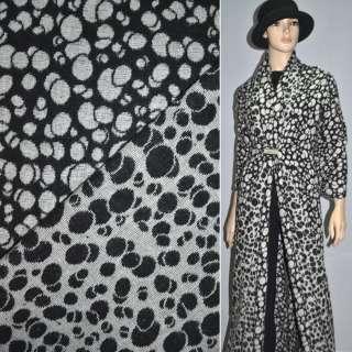 ткань костюм. черная с белыми кругами ш.150 оптом