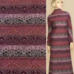 Жаккард фиолетовый в черно-розовый орнамент, ш.147