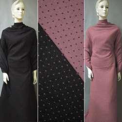 Жаккард костюмный 2-ст. черно-розовый крапки ш.150 оптом