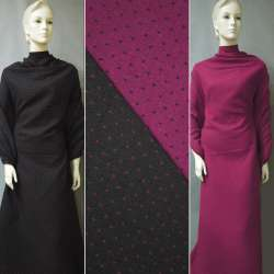 Жаккард костюмный 2-ст. черно-малиновый крапки ш.150 оптом