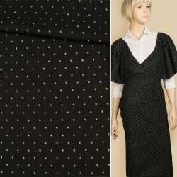 Жаккард костюмный 2-ст. черный в белую крапку/полоску, ш.147 оптом