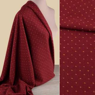 Тканина костюмна червона темна в жовту крапку ш.148 оптом