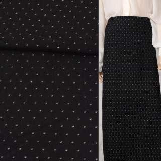 Жаккард костюмний чорний в білу точку ш.148 оптом
