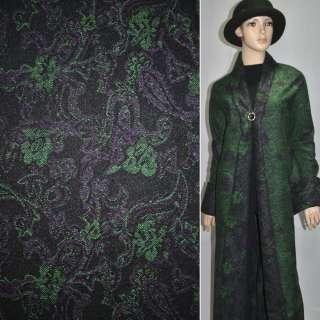 Жакард пальтовий з вовною квіти, пейслі зелено-фіолетові на чорному тлі, ш.150 оптом