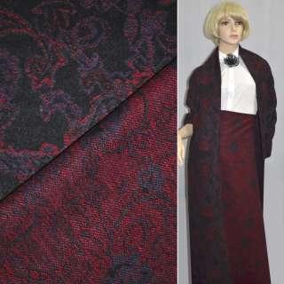 Жакард пальтовий з вовною квіти, пейслі червоно-фіолетові на чорному тлі, ш.150 оптом