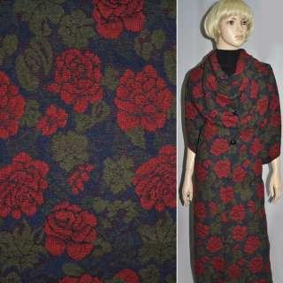 Жаккард шерстяной синий темный с красными цветами ш.150 оптом