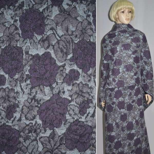 Жаккард шерст. бледно-голубой с фиолетово-серыми цветами ш.150 оптом