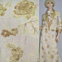 Фукра белая с золотыми цветами ш.150 оптом