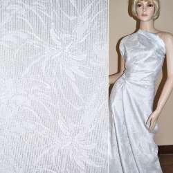 Жаккард костюмный белый с серебристым люрексом, ш.150