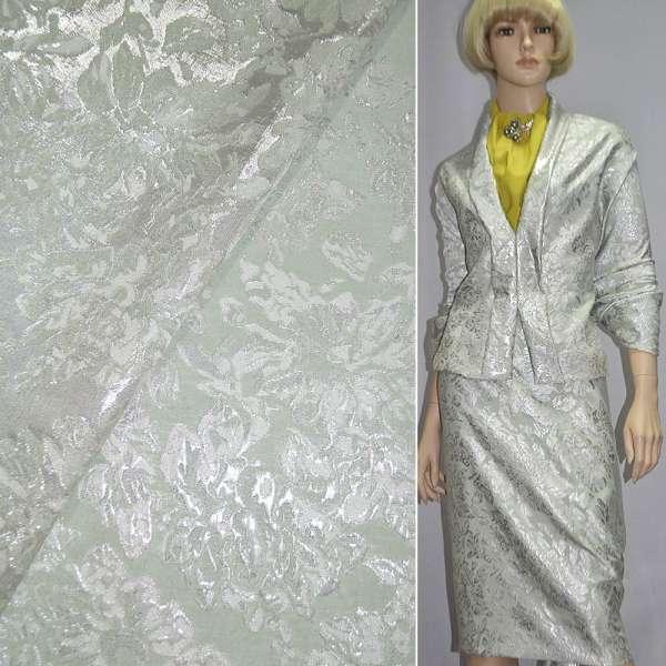 Фукра костюмная салатовая с серебристыми цветами оптом
