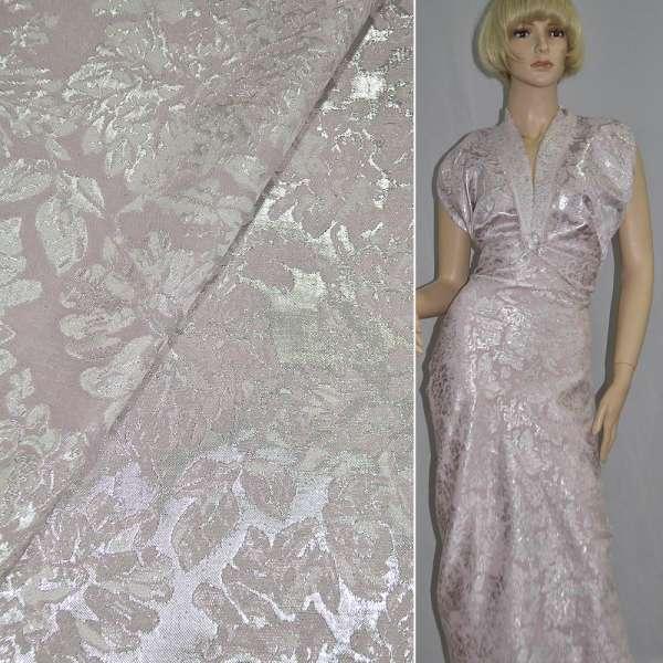 Фукра костюмная розовая с серебристыми цветами оптом