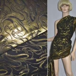 фукра черная с золот.абстр.рис.шир.150 см оптом