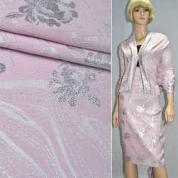 Фукра розовая с серебряными розами ш.150