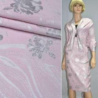 фукра розовая с серебр.розами шир.150 см оптом