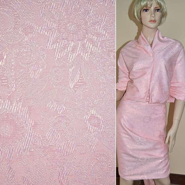 Жаккард костюмный бледно-розовый с органзой и тисненым рисунком ш.150 оптом