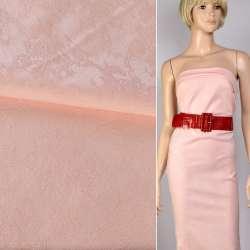 Жаккард костюмный бледно-розовый с тиснеными абстрактным рисунком с органзою ш.145 оптом