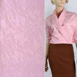 Жаккард костюмный розовый с органзой и тисненым рисунком ш.145 оптом