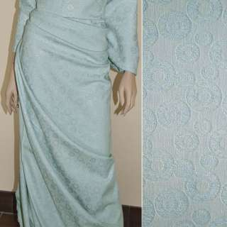 Жаккард костюмный голубой с кругами и переливающимся люрексом, ш.150 оптом