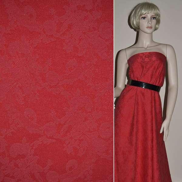 Жаккард костюмный красный с органзой и тисненым рисунком, ш.150 оптом