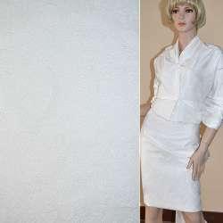 Жаккард костюмный белый с органзой и тисненым рисунком, ш.150