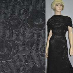 Фукра костюмная черная с шенілловой нитью ш.140