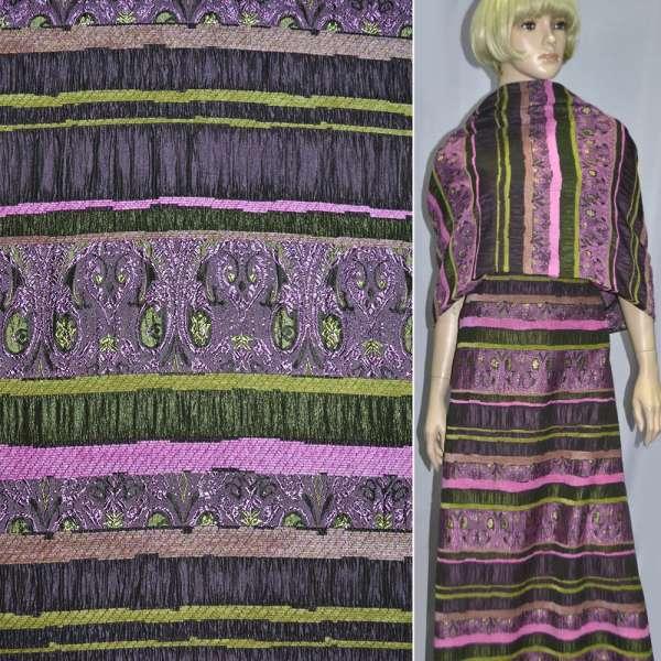 Жаккард костюмный фуксия с салатовым орнаментом и шенилловой нитью ш.140 оптом