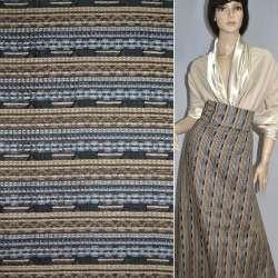 Ткань костюмная в серо-коричневую полоску с шенилловой нитью оптом