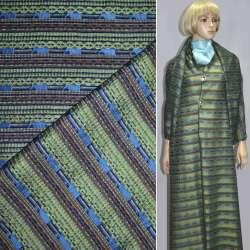 Ткань костюмная в серо-зеленую полоску с шенилловой нитью оптом