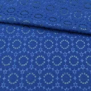 Жакард-фукра з метаніттю синій ультра, квіти, ш.142 оптом