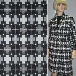 Жаккард костюмный черный с серыми и белыми крестами оптом