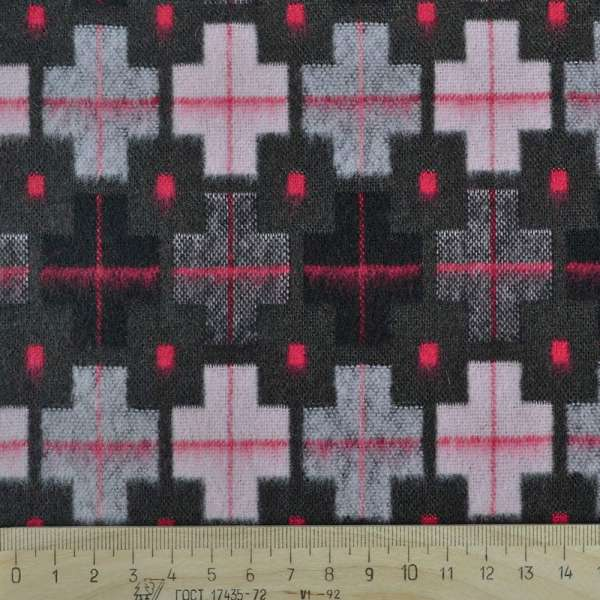 Жаккард костюмный коричневый с серыми, розовыми, красными крестами оптом