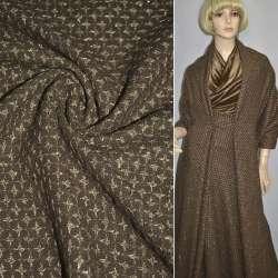 Жаккард костюмный коричневый в бежевые звезды с люрексом ш.150 оптом