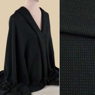 Жаккард костюмний чорний в зелено-коричневі ромбики ш.152 оптом