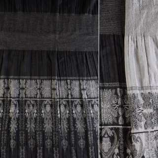 Жаккард фукра черная, серый купон (юбка резинка 20 см), ш.120 оптом