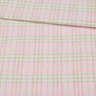 """Тканина спіднична стрейч рожева в салатовий смужку """"шик"""" ш.145 оптом"""
