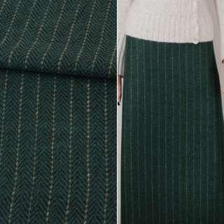 Тканина костюмна ялинка чорно-зелена з бежевою смужкою ш.147 оптом