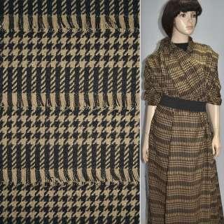 Ткань костюмная коричневая темная с бежевыми полосками и рваными нитями оптом