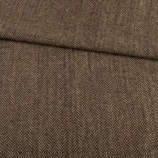 Твид елочка бежево-коричневый, ш.150 оптом