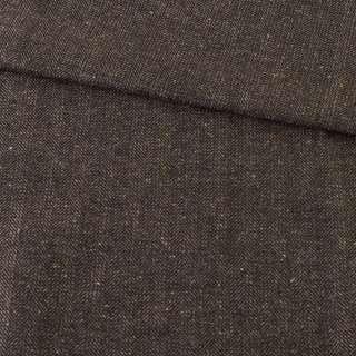 Твид елочка бежево-черный с белыми узелками, ш.150 оптом