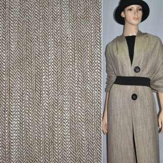 Ткань костюмная коричневая в жаккардовую елочку с белыми точками оптом