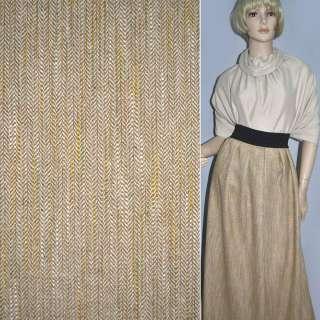 Ткань костюмная песочная в елочку и оранжево-салатовые штрихи оптом