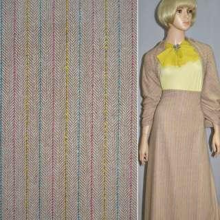 Ткань костюмная коричневая светлая с желто-розово-голубой нитью оптом