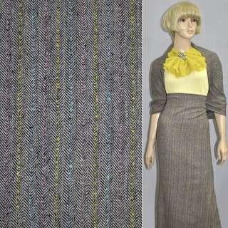 Ткань костюмная коричневая елочка с желто-розово-голубой нить оптом