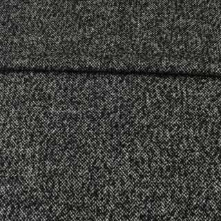 Твід ялинка чорно-білий меланж ш.152 оптом