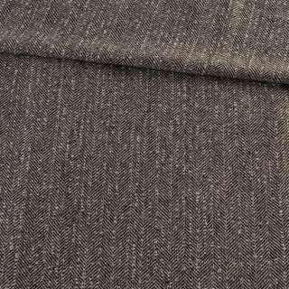 Твид елочка бежево-черный с узелками, ш.145 оптом