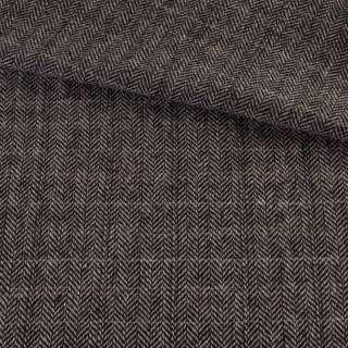 Твид елочка серо-черный, бежевые, молочные полоски, ш.155 оптом