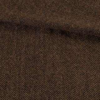 Твид елочка коричневый темный, ш.150 оптом