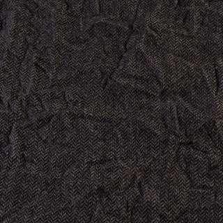 Твид елочка жатый серо-бежево-черный, ш.145 оптом