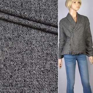 Твид-букле черно-белое плетение с узелками ш.141 оптом